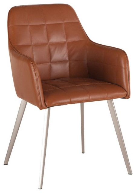 Hudson Tan Faux Leather Armchair with Steel Legs