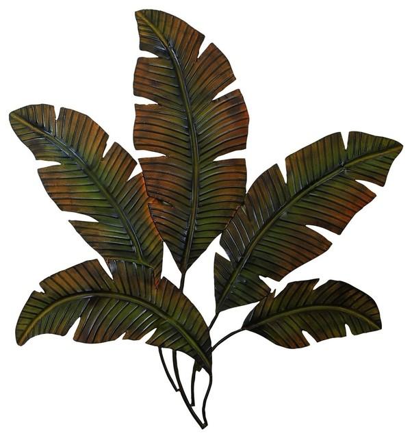 "Tropical Leaves Metal Palm Wall Decor, 35""x34""."