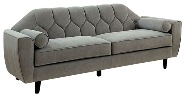 Ester Contemporary Tufted Sofa With Rolled Pillows, Gray