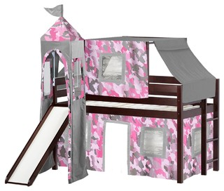 Jackpot Princess Low Loft Bed, Cherry With Slide, Pink Camo Tent and Tower