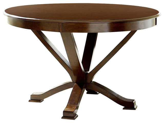 Wooden Round Dining Table With Curved Legs Cherry Brown