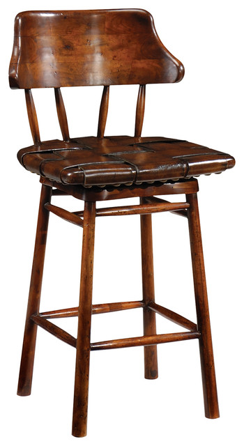 Marvelous Jonathan Charles Country Style Walnut Leather Counter Stool 493095 Machost Co Dining Chair Design Ideas Machostcouk