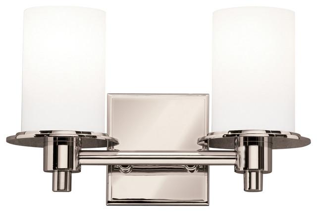 Transitional Bathroom Vanity Lights : Cylinders 2 Light Bathroom Vanity Lights in Polished Nickel - Transitional - Bathroom Vanity ...