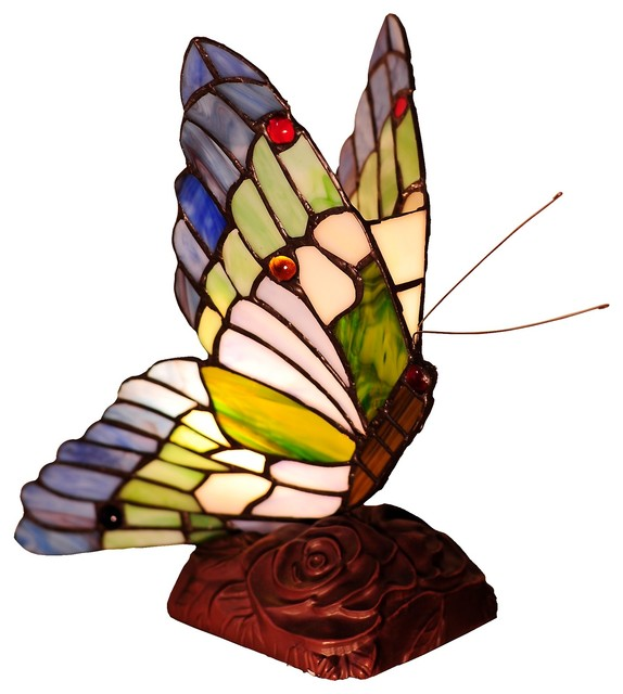 "Chloe Lighting Kacy 3 Stained Glass Butterfly Accent Table Lamp 10""."