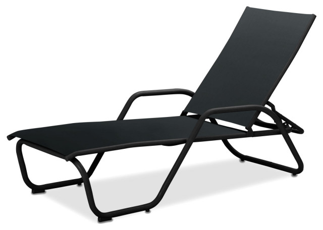 Gardenella Sling 4-Position Chaise, Textured Black, Black