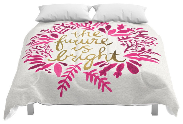 Society6 The Future Is Bright Pink Gold Comforter