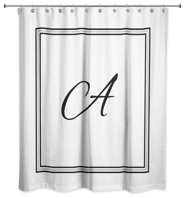 Classic White Monogrammed Shower Curtain