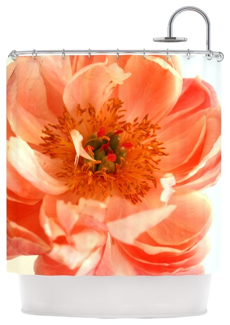 coral and white shower curtain. Pellerina Design  Blushing Peony Coral White Shower Curtain contemporary shower curtains