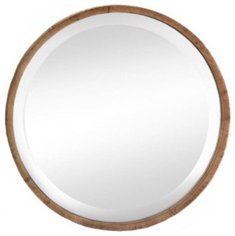 Round Wood Frame Wall Mirror. -1