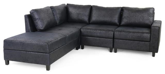 GDF Studio Kama Chaise 4-Seater Hidden Storage Microfiber Sectional Sofa Set