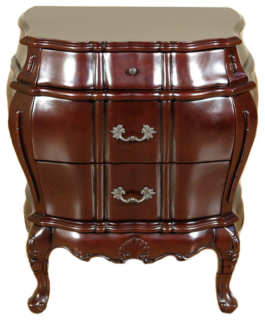 Dark Brown Bombe 3 Drawer Nightstand Side Table Victorian Nightstands And Bedside Tables