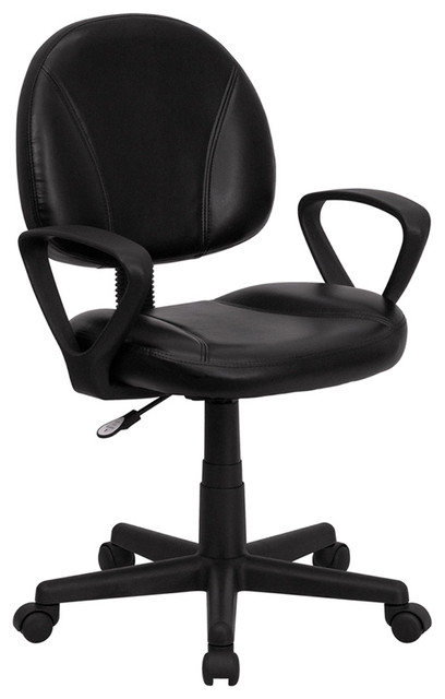 Flash Furniture Mid-Back Black Leather Ergonomic Task Chair With Arms