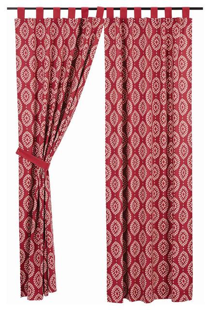 Paloma Tab Top Panel Lined, Crimson, 84x40, Set Of 2.