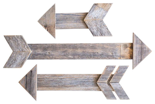 Unique 3-Piece Arrow Set At Staggered Lengths, Reclaimed Wood, Natural.