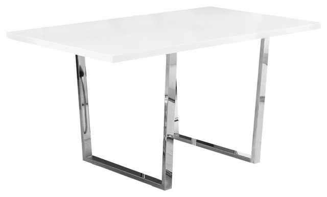 Dining Table With Chrome Metal Base, White Glossy