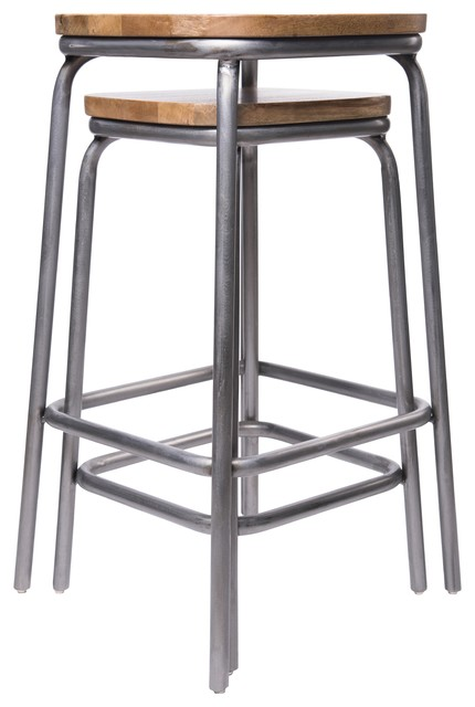 Mickelson Metal and Wood Bar and Counter Stools, Set of 2