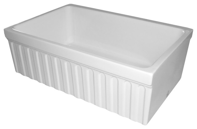 Quatro Alcove Reversible Fireclay Sink With Fluted Front Apron Whq330, White.