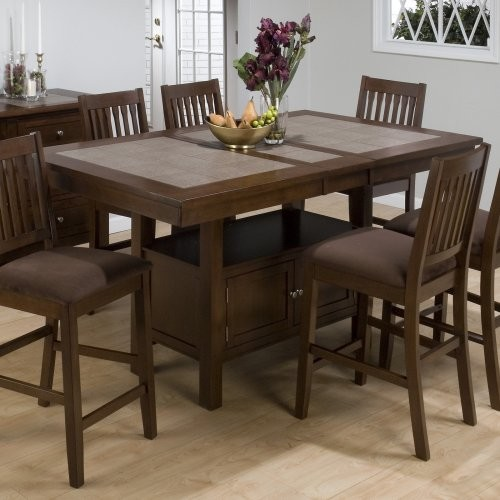 Jofran Trumbull Tile Top Counter Height Storage Dining Table Contemporary Tables By Hayneedle