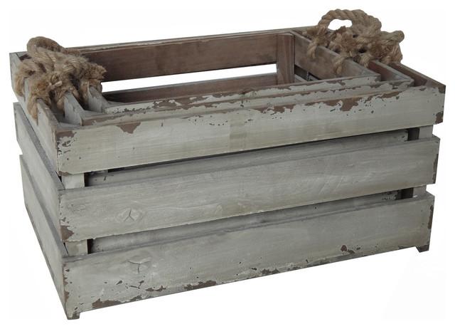 Antiqued Wood Slat Crates Set Of 3