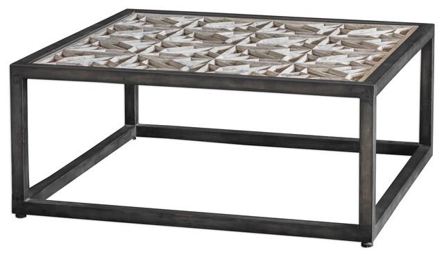 Astonishing Square Industrial Rustic Wood Coffee Table Lattice Open Iron Elegant Machost Co Dining Chair Design Ideas Machostcouk