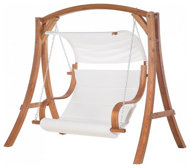 Aprilia Beige Wooden Garden Swing With Canopy
