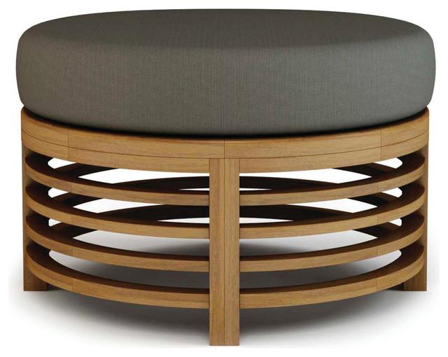 Spirals Teak Collection, Round Ottoman.