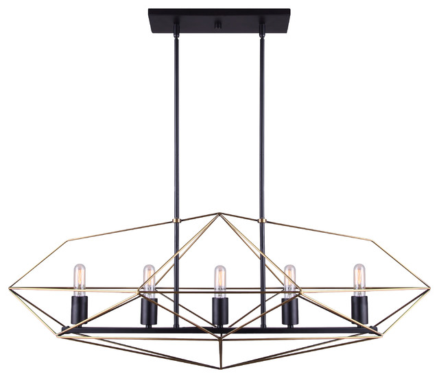 Canarm Greer 5-Light Chandelier, Matte Black and Gold Finish