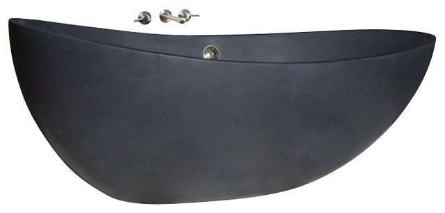 t-zen-72 black lava honed bath tub - contemporary - bathtubs -