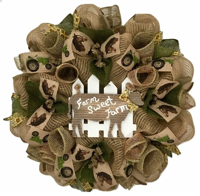 Farm Sweet Farm Rustic Handmade Deco Mesh Wreath.