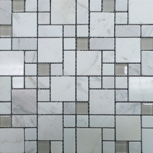Polished Marble And Frosted Sanded Gl Squares Mosaic Tile Carrara White