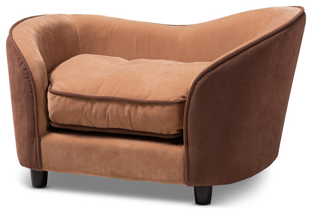 Hayes Modern Two-Tone Light Brown and Dark Brown Fabric Upholstered Pet  Sofa Bed