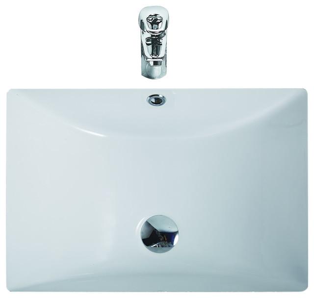 Eago White Ceramic Undermount Rectangular Bathroom