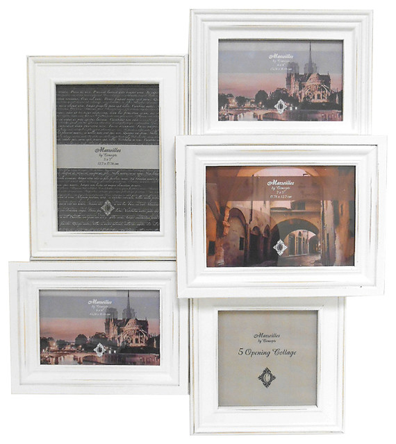 Noma 5-Picture Collage Wall Frame, Distressed White - Traditional ...