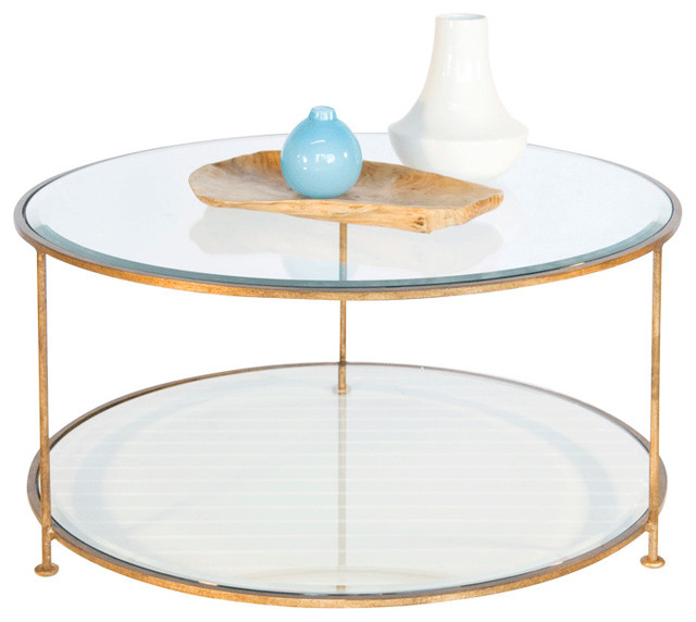 Gentil Worlds Away Gold Leaf Iron Round Coffee Table With Beveled Glass Top ROLLO G