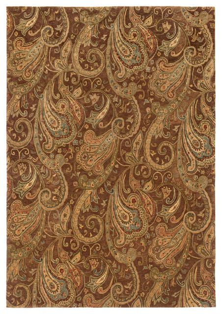 Oriental Weavers Huntley Floral Paisley Wool Brown/Gold Rug  traditional-area-rugs - Oriental Weavers Huntley Floral Paisley Wool Brown/Gold Rug