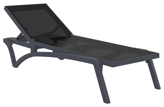 Compamia Pacific Sling Chaise Lounges, Set of 2, Dark Gray and Black