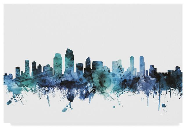 "Michael Tompsett &x27;san Diego California Blue Teal Skyline&x27; Canvas Art, 32""x22"". -1"