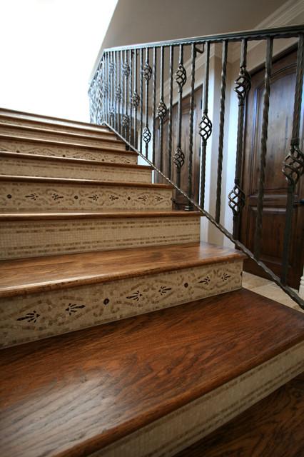 Decorative Staircase Risers Mediterranean