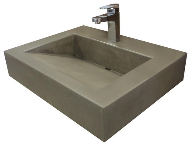 "24"" Ada Floating Vallum Concrete Bathroom Sink, Charcoal, 1 Hole."