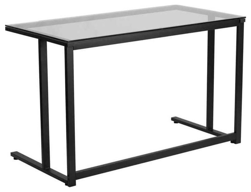 Flash Furniture Glass Desk With Black, Flash Furniture Black Glass Computer Desk With 3 Drawer Pedestal