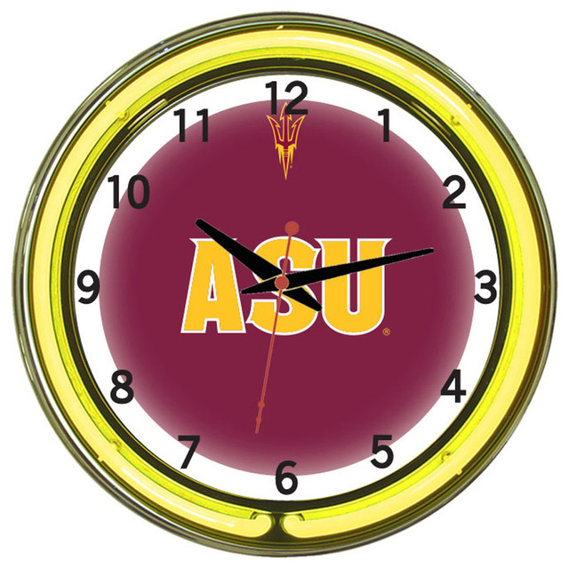 Wall Clocks With Neon Lights : Shop Houzz Wave 7 Arizona State Sun Devils 18