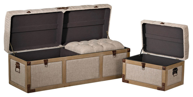 Belgian Linen Storage Trunks Transitional Decorative