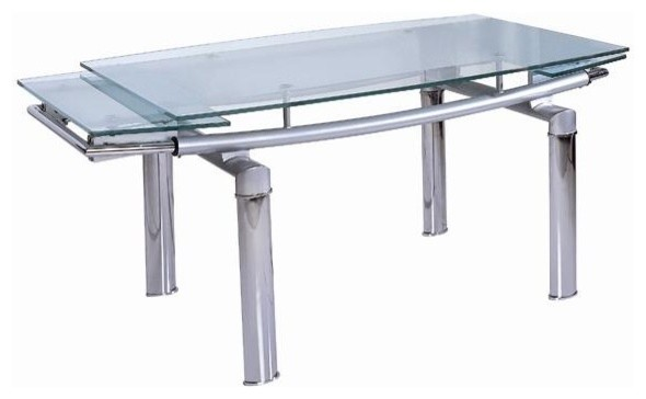 Dining Table W Curved Glass Extension Top Contemporary Tables