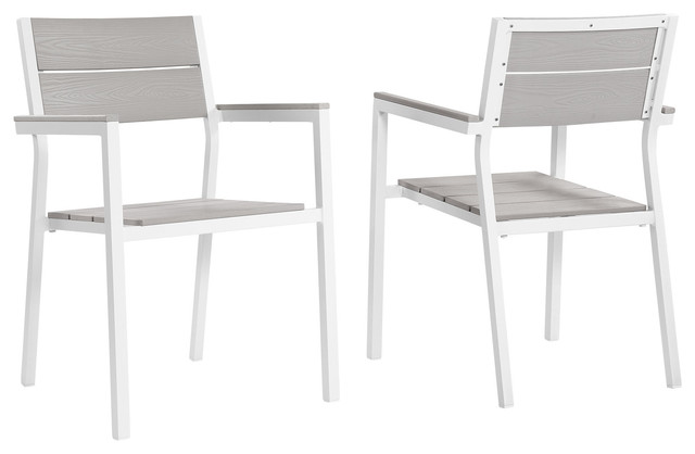 Maine Dining Armchairs, Outdoor Aluminum, Set of 2, White/Light Gray