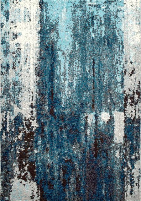 Winter Abstract Area Rug, Blue, 5u0027x8u0027 Contemporary Area Rugs