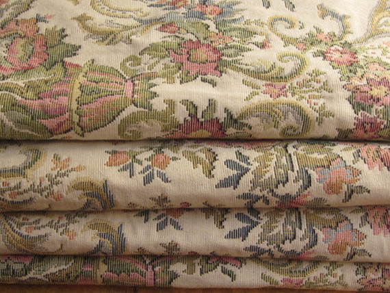 Tapestry fabric vintage floral by queen decor victorian for Victorian floral fabric