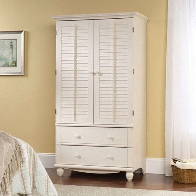 Bedroom Wardrobe Cabinet Storage Armoire With Louver Doors