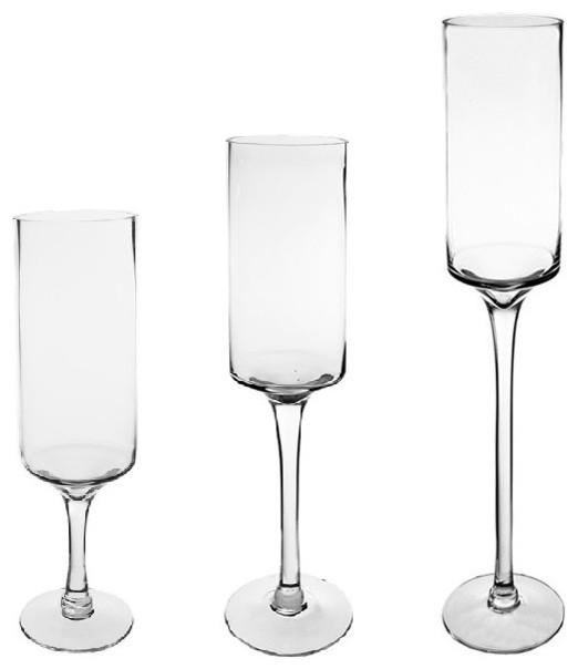 cys hurricane stemmed glass pillar candle holder set of 3