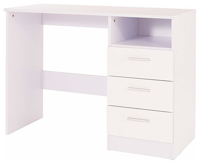 Dressing Table, High Gloss White MDF With 3 Storage Drawers and Open Shelf