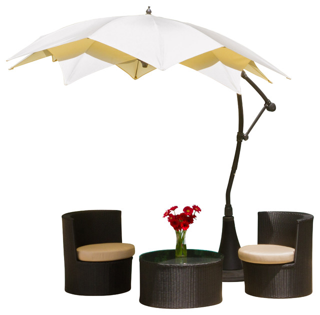 Barbados Outdoor Beige Cantilever Patio Umbrella Canopy - Modern ...